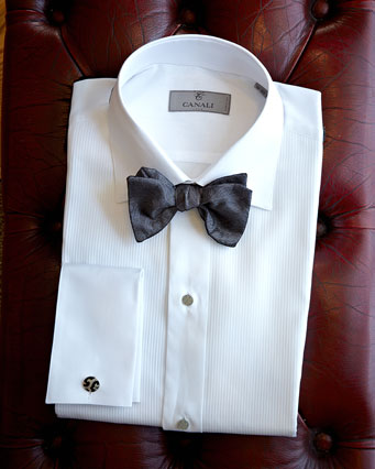 Photo of folded shirt with bowtie